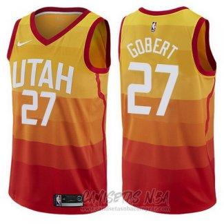 Camiseta Utah Jazz Rudy Gobert NO 27 Ciudad 2017-18 Amarillo